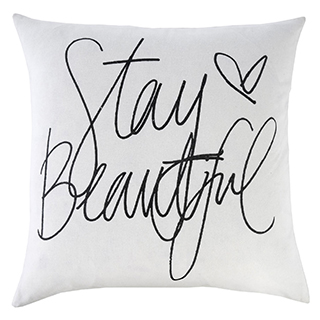 Coussin carré en plumes Stay Beautiful