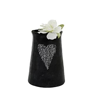Vase décoratif noir avec coeur 10po de hauteur