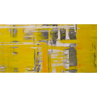 Toile laquée 60x30 po Abstraction jaune
