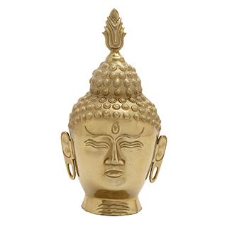 Tête de Bouddha en aluminium doré