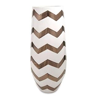 Vase en céramique avec chevrons métalliques (bronze)