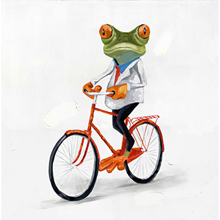 Toile grenouille bicyclette
