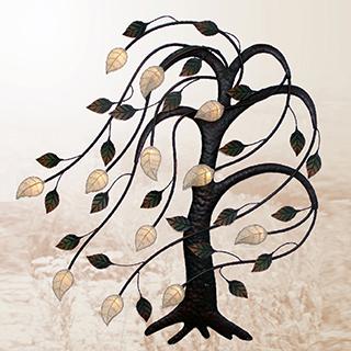 Appliqué mural en métal arbre lumineux