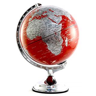 Globe terrestre lumineux rouge