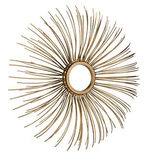 Miroir décoratif en métal doré en forme de fleur