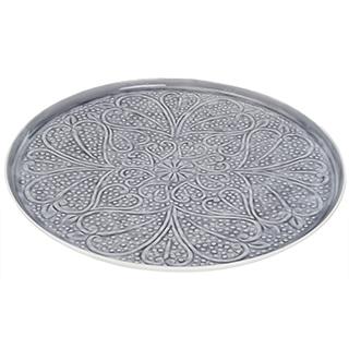 Plateau décoratif en métal émaillé gris - Grand