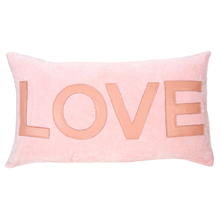 Coussin rectangulaire rose Love