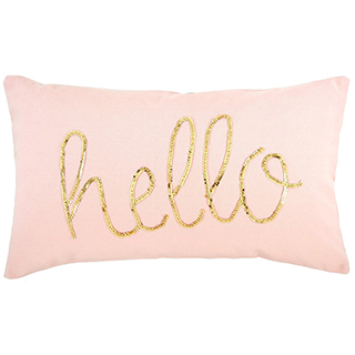 Coussin rectangulaire rose Hello