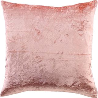 Coussin carré en velours rose
