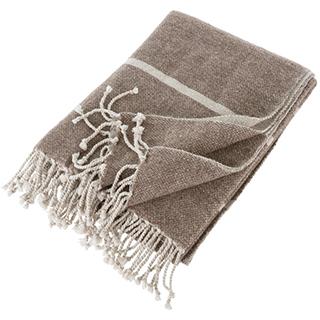 Jeté taupe en laine et synthétique