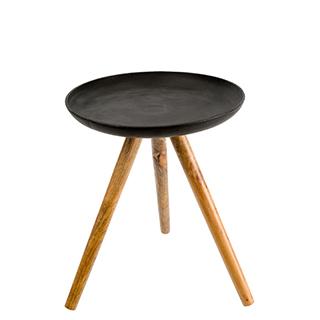 Table d'appoint en fonte et bois de mango