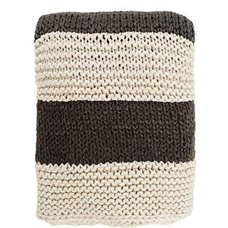 Jeté crème et gris charcoal en tricot de laine