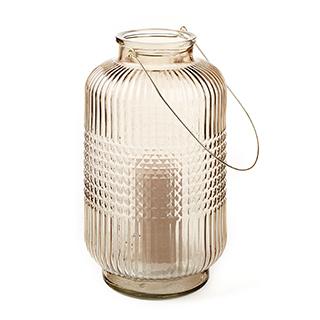 Lanterne en verre coloré taupe 15po