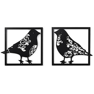 2 appliqués muraux d'oiseaux en métal noir