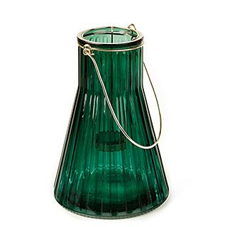 Lanterne en verre coloré vert émeraude