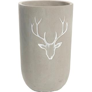 Vase décoratif en ciment avec chevreuil