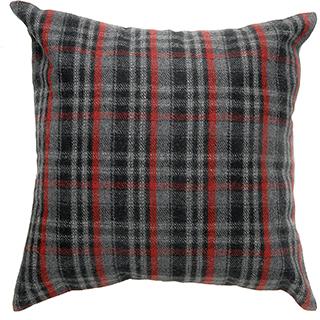 Coussin carreauté laine grise et rouge