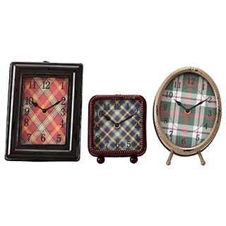Ensemble de 3 horloges avec fond tartan