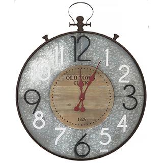 Horloge murale en métal galvanisé et bois