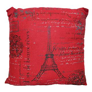 Coussin carré rouge Tour Eiffel (Paris)