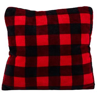 Coussin carré carreauté noir et rouge collection chalet chic