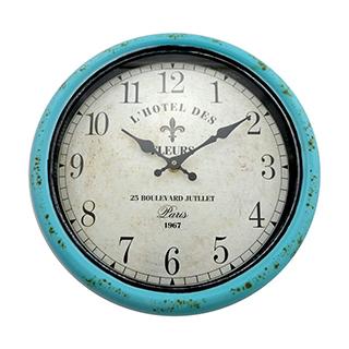 Horloge murale en métal turquoise 12 po
