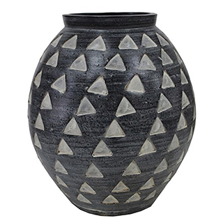 Vase décoratif à motif triangulaire gris charbon - petit