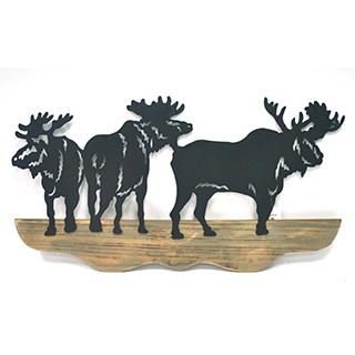 Appliqué mural en bois et métal Orignaux