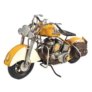 Moto décorative en métal jaune