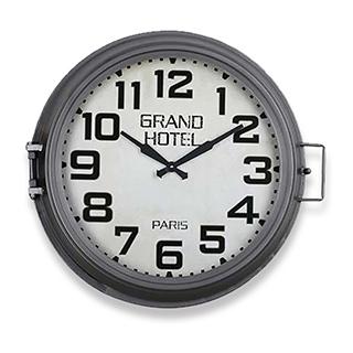 Horloge avec rangement en métal gris Grand Hotel Paris