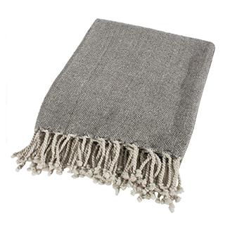 Jeté gris 60% laine et 40% synthétique