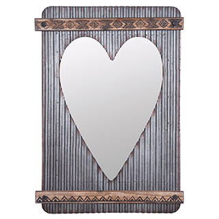 Miroir avec coeur en métal ondulé et bois