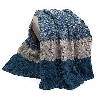 Jeté en tricot bleu et gris Kelowna