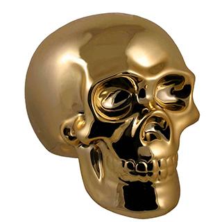 Banque en forme de crâne doré