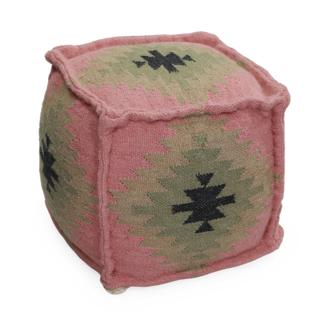 Repose pied ou pouf aztèque 90% laine 10% coton