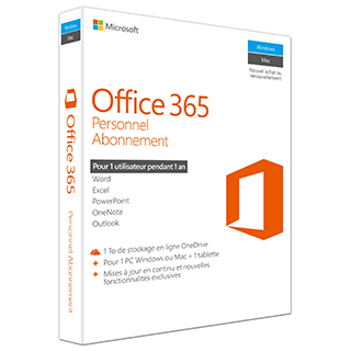 Logiciel Office 365 Personnel - 1 utilisateur