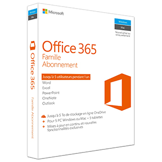 Logiciel Office 365 Famille - 5 utilisateurs