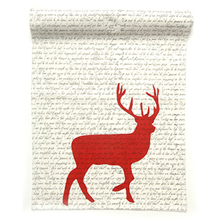 Chemin de table avec imprimés chevreuil et lettrage