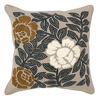 Coussin carré avec broderie au motif floral