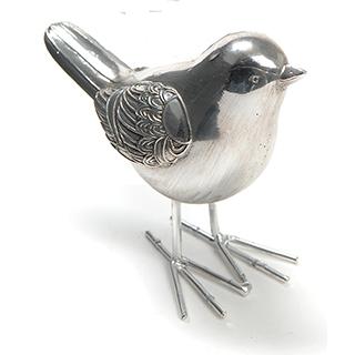 Oiseau en métal argenté