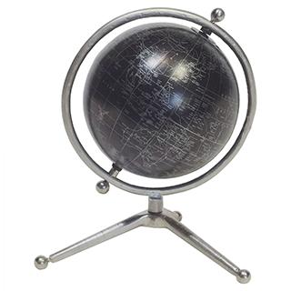 Globe terrestre en métal noir avec finition nickel satiné