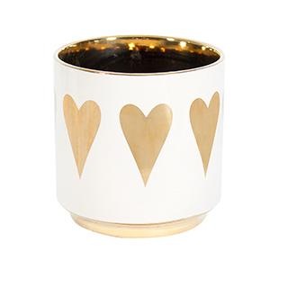 Vase décoratif avec coeurs dorés