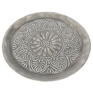 Assiette décorative en métal et céramique grise