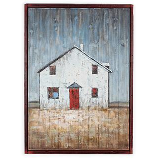 Cadre Maison peint à la main sur bois 35x48 po