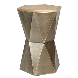 Table d'appoint Hexagon en métal brossé