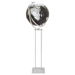Globe-terrestre sur pied noir et argent