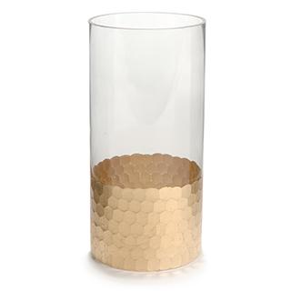 Vase en verre martelé or