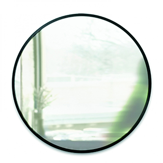 Miroir rond contour noir 24 po