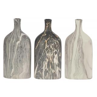 Ensemble de 3 vases en céramique marbré gris