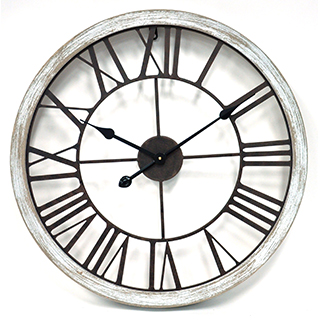 Horloge murale 24 po métal et bois